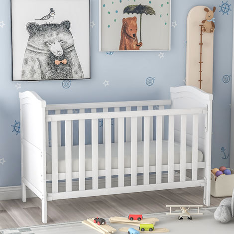 Solid Wood Baby Cot Bed Toddler Bed with Foam Mattress©¦Converts into a Junior Bed ©¦Single-Handed Dropside Mechanism©¦3 Adjustable Position