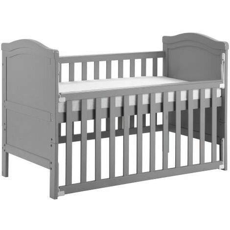 Solid Wood Baby Cot Bed Toddler Bed with Foam Mattress│Converts into a Junior Bed │Single-Handed Dropside Mechanism│3 Adjustable Position