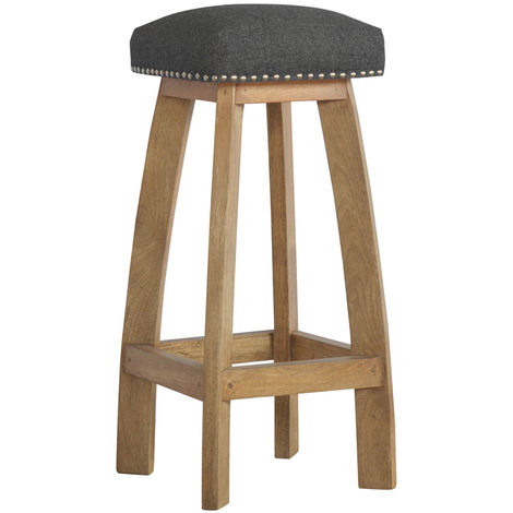 """main image of """"Solid Wood Bar Stool with Black Tweed"""""""