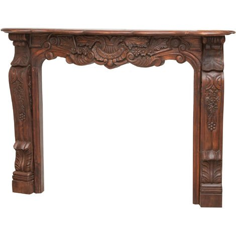 Solid wood carved W150xDP25xH110 cm sized fireplace frame