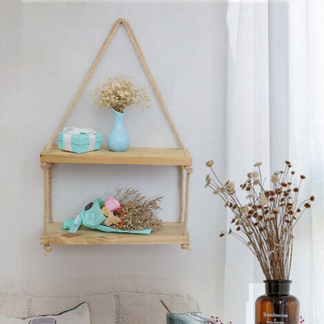 Solid Wood Rope Hanging Wall Shelf Storage Floating Display Rack