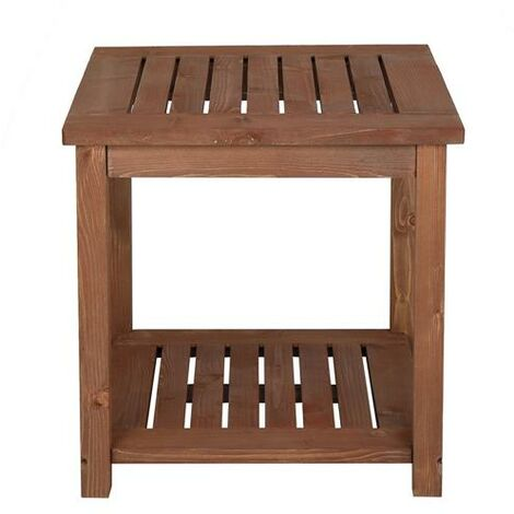 Solid Wood Square Carbonized Color Courtyard Side Table (17.72 x 17.72 x 17.72)""