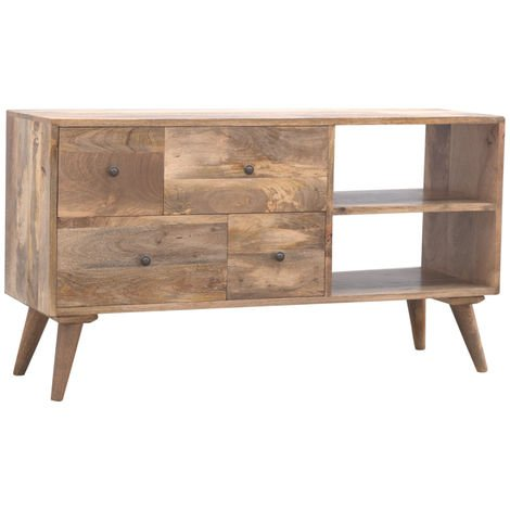 Solid Wood TV Stand with 4 Drawers and 2 Open Units