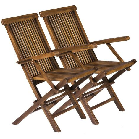 Solid Wooden Folding Outdoor Furniture Chairs - Garden Patio Decking (Pack of 2)