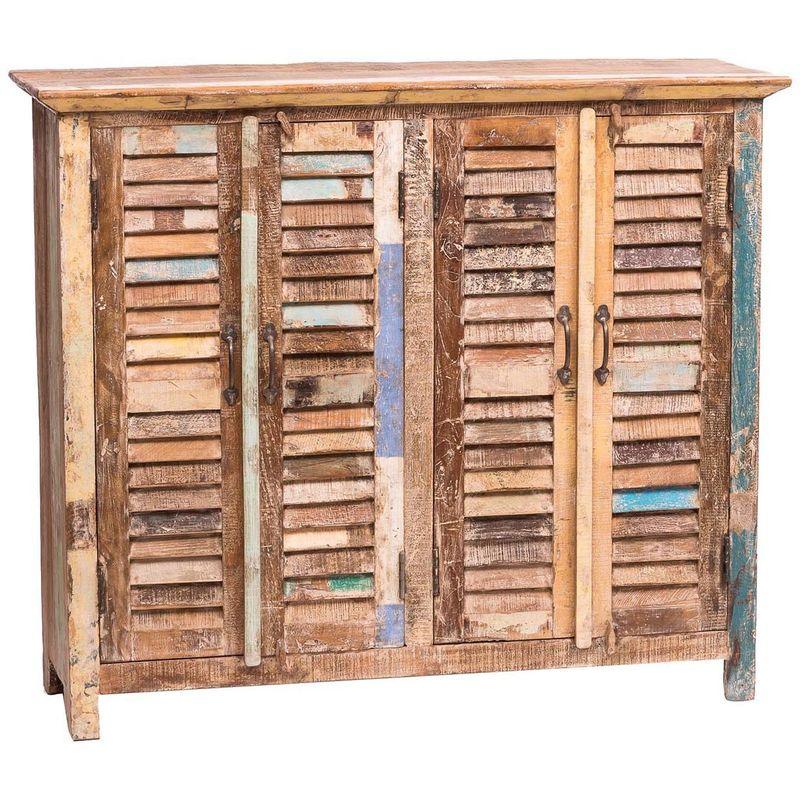 Biscottini - Sólida alacena realizada de madera maciza de recuperación pintado a la mano, con puertas corridoras a contraventana Vintage