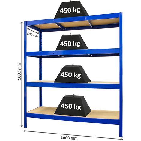 Solide étagère métallique de stockage – profondeur : 60 cm | charge max par tablette : 450 kg - Bleu