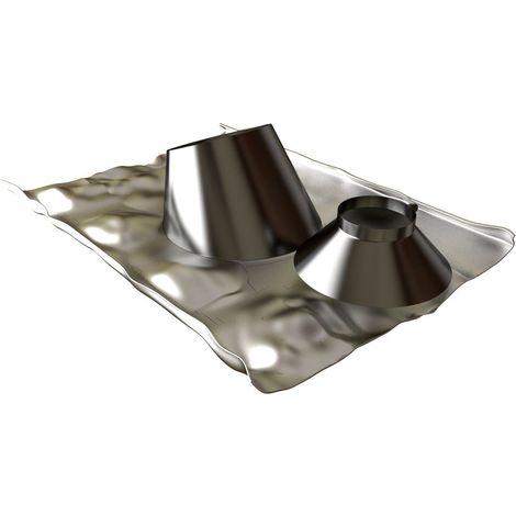 Solin 30 à 45 INOX + collet diamètre 80 / 125 mm pour BIOTEN LAQUE NOIR RAL 9005