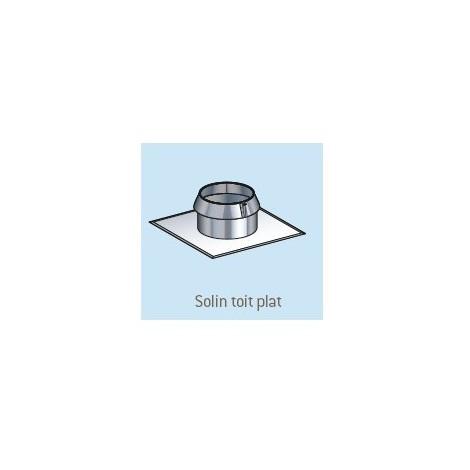 Solin condensor inox toit plat avec collerette 80/130