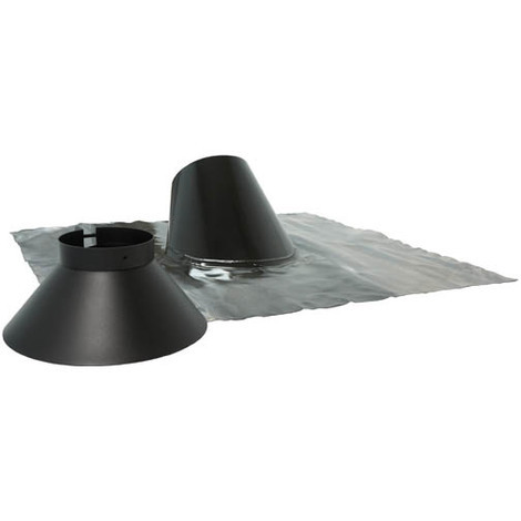 Solin et collet avec bavette de plomb 800 x 800 TEN - Noir - Diamètre conduit 80/125 - Tolerie Emaillerie Nantaise