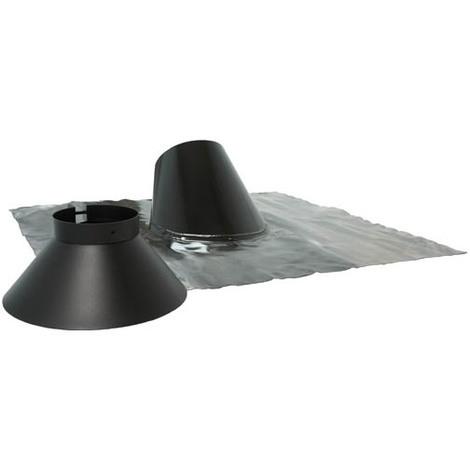 Solin inox 30° à 45° noir BIOTEN + collet 125