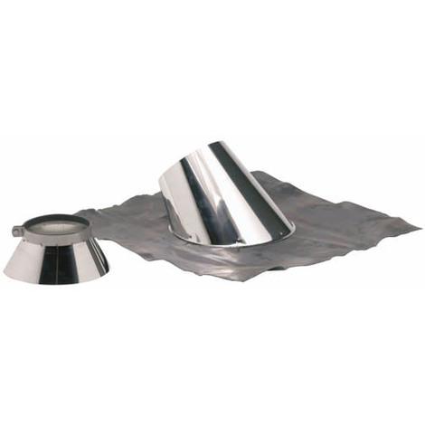 Solin plomb pour pente de 30 à 45° Ø153-200+collet inox