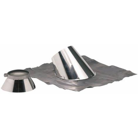 Solin plomb pour pente de 30 a 45° O125-180+collet inox