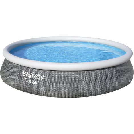 Solo Fast Set Pool, rund, grau-rattan, 396x84cm