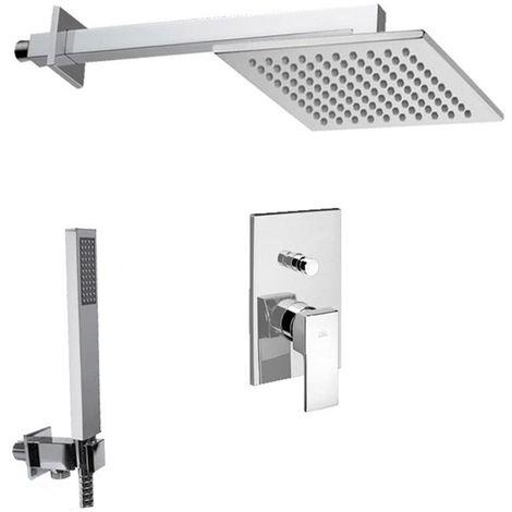 Solution de douche complète avec: pommeau de douche carré, mélangeur et set de douchette à main.(code COMPOSIZIONE_LEVEL)