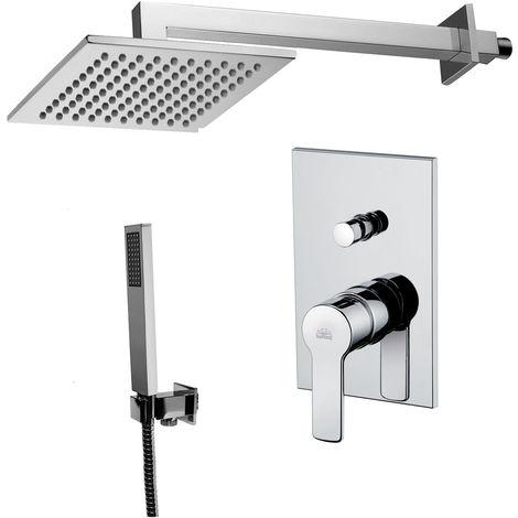 Solution de douche complète avec: pommeau de douche carré, mélangeur et set de douchette.(code COMPOSIZIONE_RED)