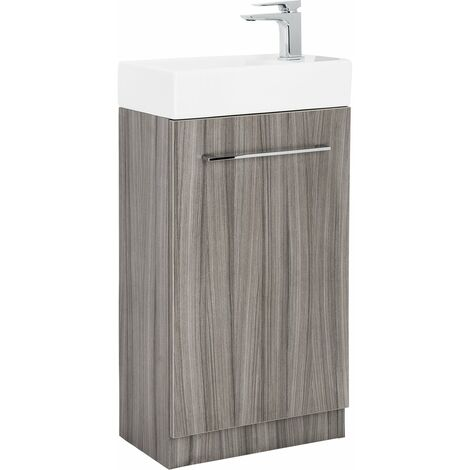 Solutions Cloakroom Vanity Unit & Basin Driftwood