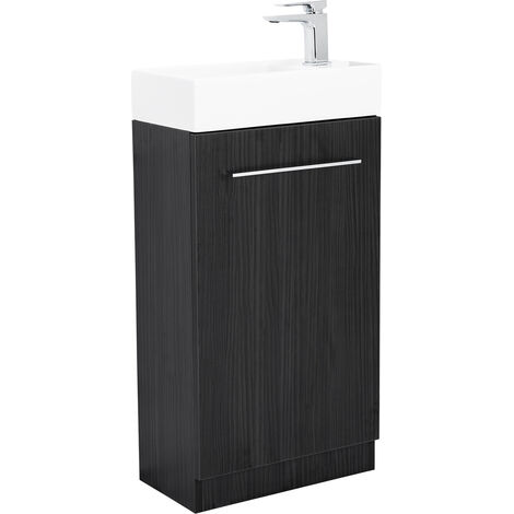 Solutions Cloakroom Vanity Unit & Basin Structured Grey