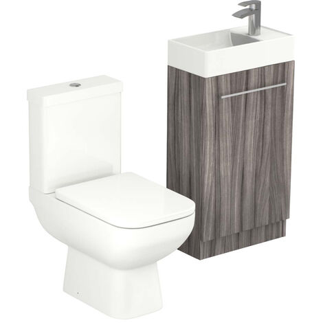 Solutions Driftwood 450mm Cloakroom Unit & Toilet Suite