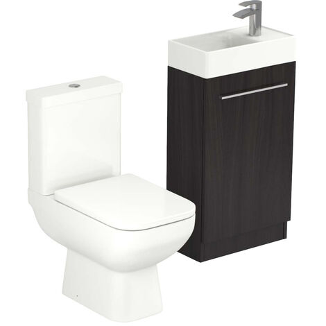 Solutions Structured Grey 450mm Cloakroom Unit & Toilet Suite