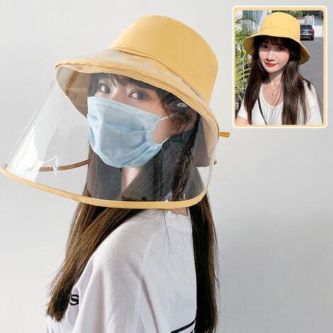 Sombrero de cubo para mujer, visera transparente protectora facial extraible,Amarillo