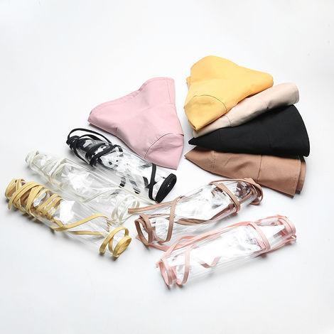 Sombrero de cubo para mujer, visera transparente protectora facial extraible,Beige