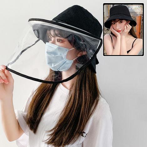 Sombrero de cubo para mujer, visera transparente protectora facial extraible,Negro