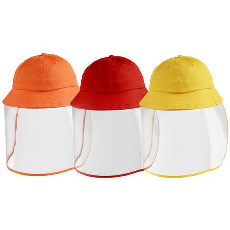 Sombreros de cubo para ninos, visera transparente protectora facial extraible,Rojo