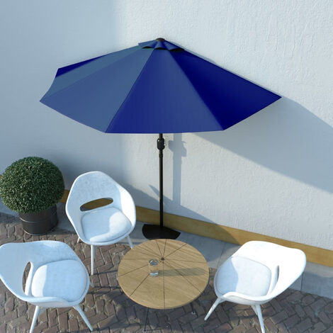"main image of ""Sombrilla balcon semicircular palo aluminio azul 270x135x245 cm"""