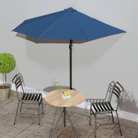 """main image of """"Sombrilla balcón semicircular palo aluminio azul 270x135x245 cm - Azul"""""""