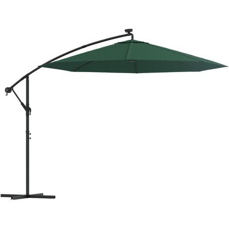 Sombrilla colgante con luces LED y palo metálico 300 cm verde