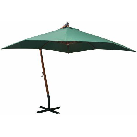Sombrilla colgante con palo de madera 300x300 cm verde