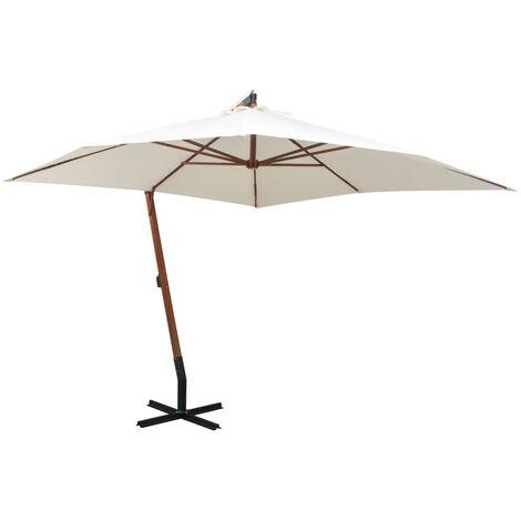 Sombrilla colgante con palo de madera blanca 300x300 cm