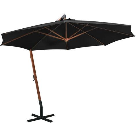 Sombrilla colgante con palo madera maciza abeto negro 3,5x2,9 m