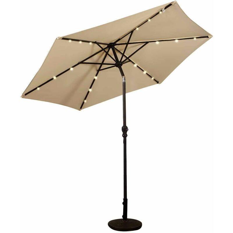 Sombrilla Con Led De Energía Solar Parasol De Jardín Con 18 Luces 2 7m Diámetro Para Terraza Jardín Piscina Playa Beige