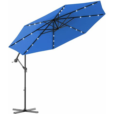 Sombrilla con LED Luces de Jardín de Ø300cm Sombrilla Inclinable Parasol para Terraza Playa Piscina Patio (Azul)