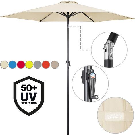 Sombrilla con palo de aluminio Beige de Ø 300cm con protección UV 40 Parasol Playa Jardín Balcón