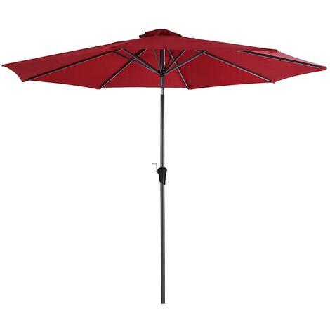 Sombrilla de 3 m, Parasol Octogonal de Poliéster, con Mecanismo de Inclinación y Manivela, para Jardines Exteriores, Balcón y Patio, (Base No Incluida) Rojo GPU30RD - Rojo
