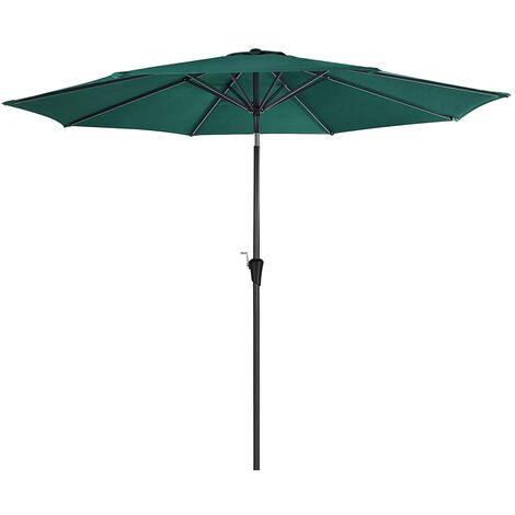 Sombrilla de 3 m, Parasol Octogonal de Poliéster, con Mecanismo de Inclinación y Manivela, para Jardines Exteriores, Balcón y Patio, (Base No Incluida) Verde GPU30GN - Verde