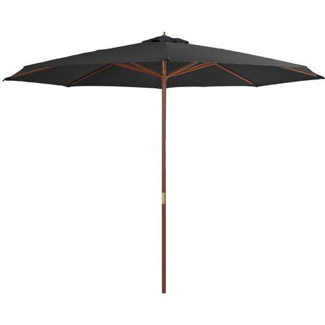 Sombrilla de jardín con palo de madera 350 cm gris antracita