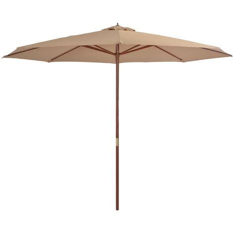 Sombrilla de jardín con palo de madera 350 cm gris topo