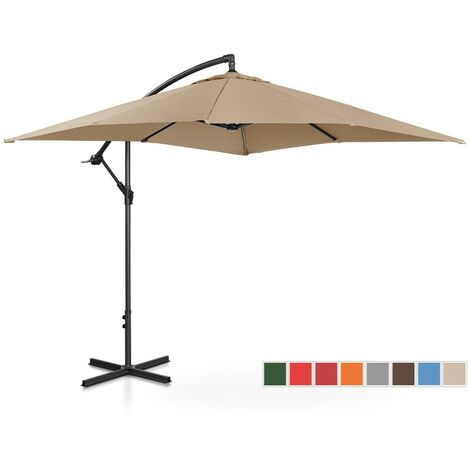 Sombrilla De Semáforo Parasol Colgante Terraza Inclinable 250X250Cm Color Topo