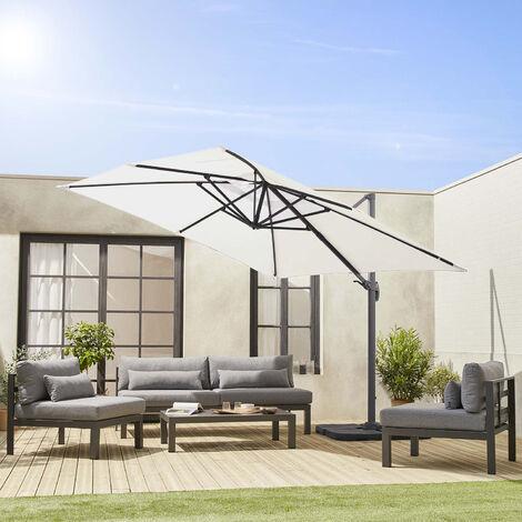 Sombrilla jardin, Parasol excentrico cuadrado, Beige, 300x300cm | Falgos