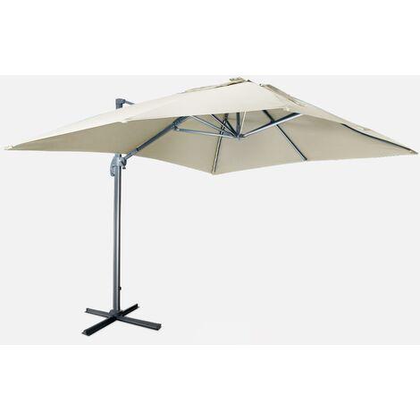 Sombrilla jardín, Parasol excéntrico cuadrado, LED, Beige, 300x400 cm