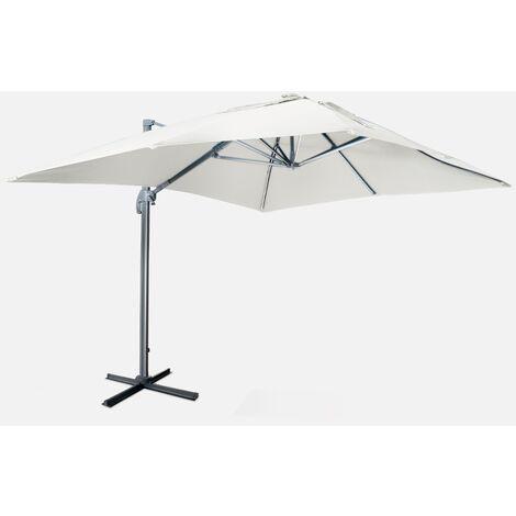 Sombrilla jardín, Parasol excéntrico cuadrado, LED, Crudo, 300x400 cm | Luce
