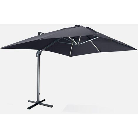 Sombrilla jardín, Parasol excéntrico cuadrado, LED, Gris, 300x400 cm