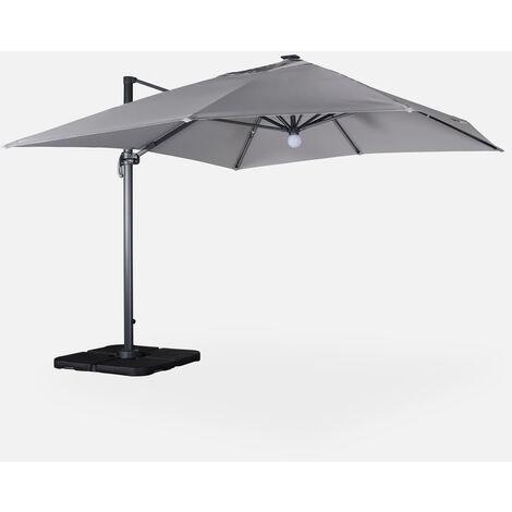 Sombrilla jardín, Parasol excéntrico cuadrado, LED, Gris Claro, 300x400 cm