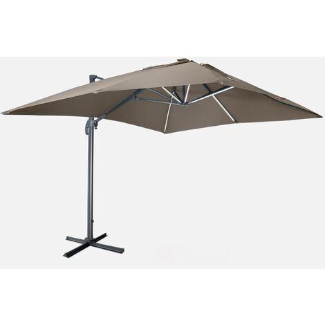 Sombrilla jardín, Parasol excéntrico cuadrado, LED, Marrón, 300x400 cm | Luce