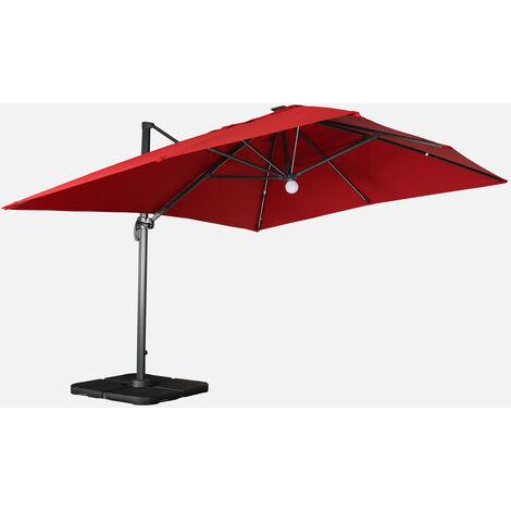 Sombrilla jardín, Parasol excéntrico cuadrado, LED, Rojo, 300x400 cm