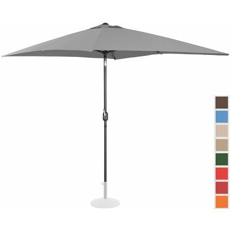 Sombrilla Para Jardín Parasol Rectangular Gris Oscuro 200 X 300 Cm Inclin