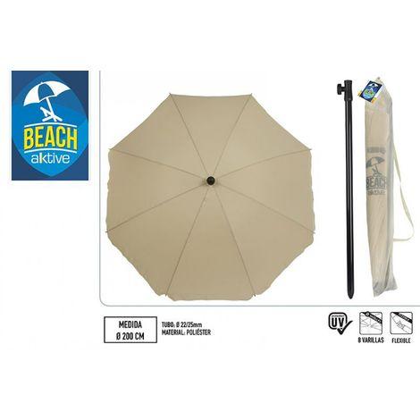 Sombrilla para jardín protección UV - 200 cm diámetro marrón (Aktive 85300)